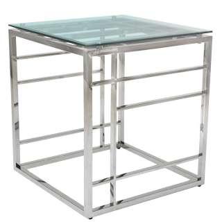 Design Beistelltisch aus Glas und Edelstahl quadratisch