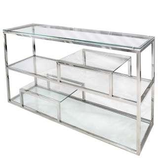 Design Raumteiler Regal aus Glas und Edelstahl 140 cm breit