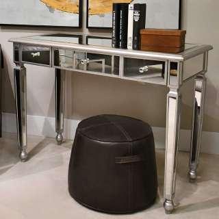 Moderner Laptop Schreibtisch mit Spiegelglas beschichtet 3 Schubladen