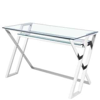 Design Schreibtisch aus Edelstahl Chromfarben Glasplatte