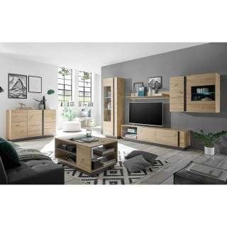 Wohnzimmer Einrichtung in Wildeiche Optik und Dunkelgrau modern (sechsteilig)