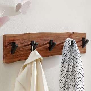 Baumkanten Garderobenleiste aus Akazie Massivholz Metallhaken in Schwarz