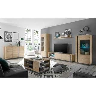 Wohnzimmermöbel in Wildeichefarben und Dunkelgrau modern (sechsteilig)