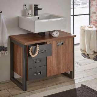 Waschbeckenschrank mit drei Schubladen Eiche dunkel und Grau