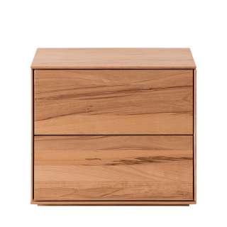 Nachttischkommode aus Kernbuche Massivholz zwei Schubladen