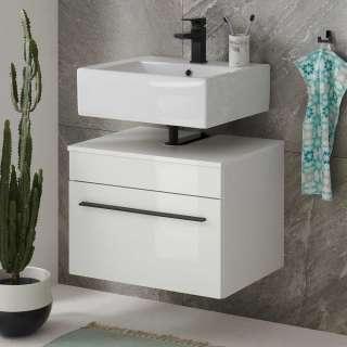 Waschtischunterschrank in Weiß Hochglanz einer Klappe
