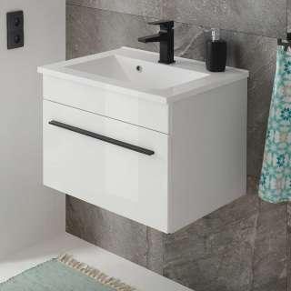 Gäste WC Waschtisch in Weiß Hochglanz Klappe