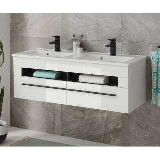 Waschbeckenschrank in Weiß Hochglanz Klappen
