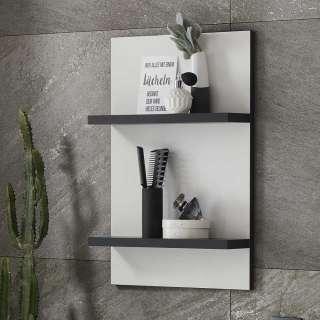 Badezimmer Regal in Weiß und Schwarz 2 Böden