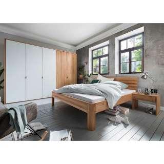 Schlafzimmer Set aus Kernbuche Massivholz mit Weiß modern (vierteilig)