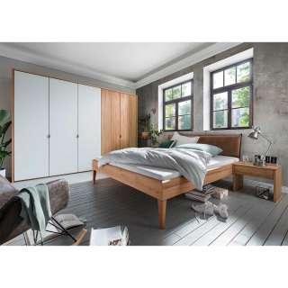 Modernes Komplett Schlafzimmer aus Kernbuche Massivholz Weiß und Braun (vierteilig)