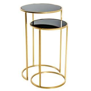 Zweisatz Tisch in Goldfarben und Schwarz Schwarzglas Platten (zweiteilig)