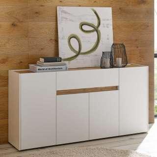 Modernes Sideboard in Weiß und Wildeiche Optik 4 Türen 1 Schublade
