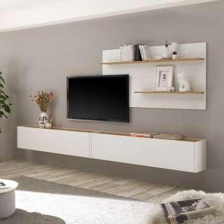 Wohnzimmerwand modern in Wildeichefarben und Weiß die Wandmontage (dreiteilig)