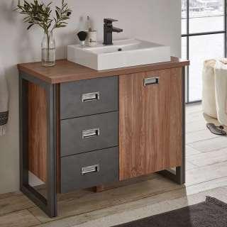 Waschbeckenunterschrank mit Aufsatzwaschbecken Eiche dunkel und Grau