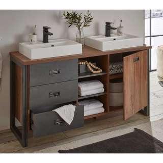 Waschtischkonsole mit 2 Waschbecken Eiche dunkel und Grau