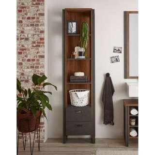 Badezimmer Regal mit zwei Schubladen Eiche dunkel und Grau