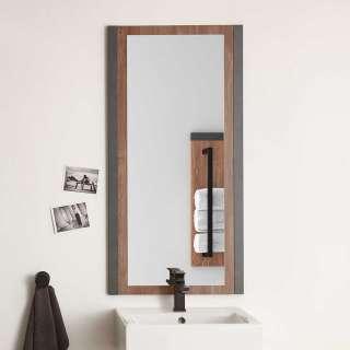 Badspiegel Rahmen Grau und Eiche dunkel Wandmontage
