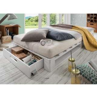 Futonbett aus Kiefer Massivholz Paletten Weiß gewachst