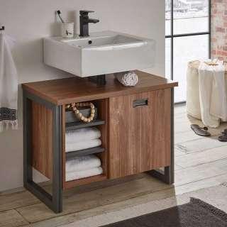Waschtischunterschrank im Industry und Loft Stil Eiche dunkel und Grau