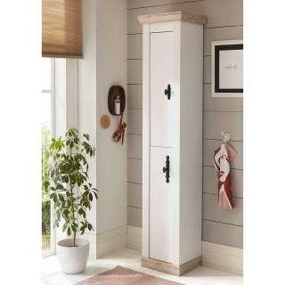 Landhaus Badezimmerschrank in Weiß und Pinienfarben 2 türig
