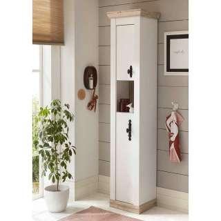 Badezimmerhochschrank in Weiß und Pinienfarben 2 Türen