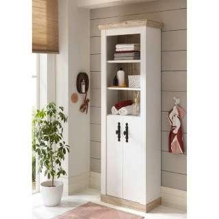 Badezimmer Schrank in Weiß und Pinienfarben 200 cm hoch