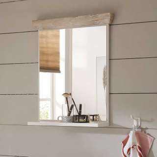 Badezimmer Spiegel in Weiß und Pinienfarben rechteckig