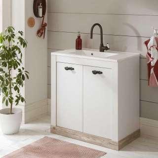 Waschtisch Kommode in Weiß und Pinienfarben 2 türig
