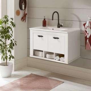 Waschtisch in Weiß und Pinienfarben Einlasswaschbecken