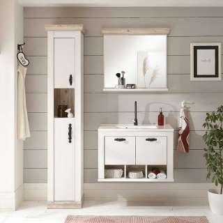 Country Badmöbel in Weiß und Pinienfarben Spiegel (dreiteilig)