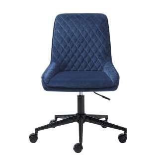 Schreibtischdrehstuhl in Blau Samt aufwendigen Steppungen
