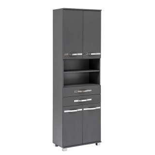 Badezimmerhochschrank in Anthrazit und Chrom 4 Türen 2 Schubladen