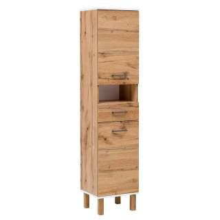 Bad Hochschrank in Eichefarben und Weiß 2 Türen 1 Schublade