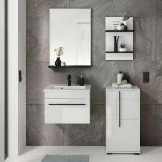 Badezimmerset in Weiß Hochglanz Einlasswaschbecken (vierteilig)