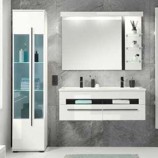Badmöbel mit beleuchtetem Spiegel Hochglanz melaminbeschichtet (dreiteilig)