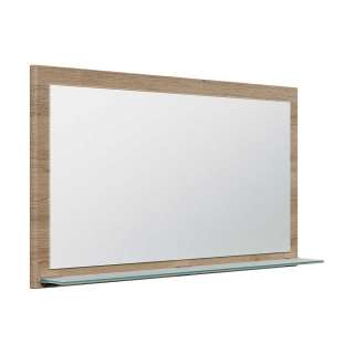 Spiegel Flur in Eiche hell Optik Glasablage