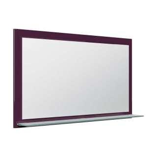 Wandspiegel mit Glasablage Violett Hochglanz