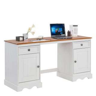 Landhaus Schreibtisch aus Kiefer Massivholz Honigfarben und Weiß