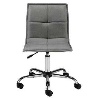 Schreibtischdrehstuhl in Grau und Chromfarben Samtbezug