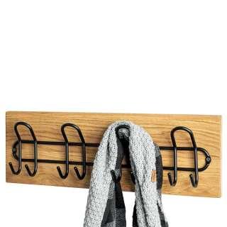 Garderobenhakenleiste in Eichefarben und Schwarz die Wandmontage