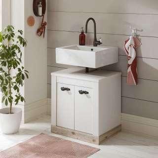 Kleiner Waschbeckenunterschrank in Weiß und Pinienfarben Siphonausschnitt