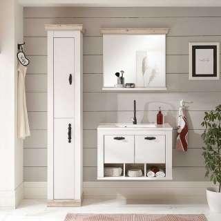 Badezimmer Set in Piniefarben und Weiß Waschbecken (dreiteilig)