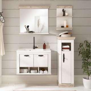 Badmöbel Kombi im Landhausstil Pinienfarben & Weiß (vierteilig)