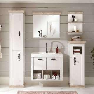 Badezimmer Kombination in Weiß Pinienfarben (fünfteilig)