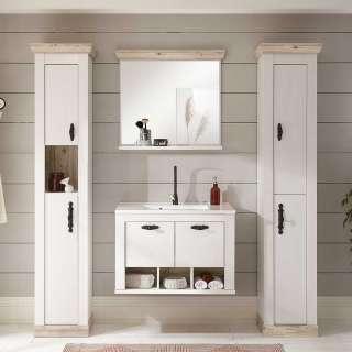 Badmöbel Kombination in Weiß Pinienfarben (vierteilig)