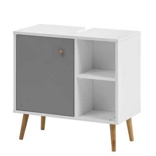Waschtischunterschrank im Skandi Design Weiß und Platingrau
