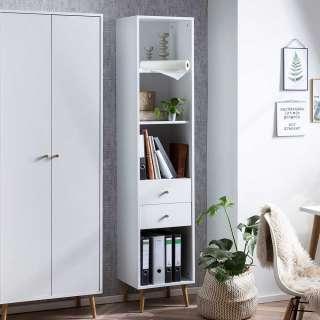 Büro Regal mit zwei Schubladen Weiß und Eiche