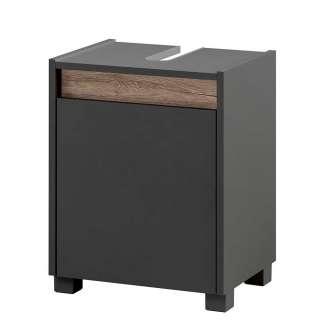 Waschbeckenunterschrank kompakte Größe Wildeichefarben und Anthrazit