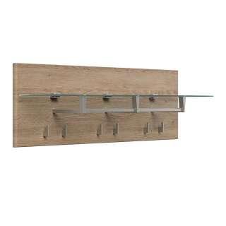 Bürogarderobe in Eiche hell Holzoptik Hutablage aus Glas